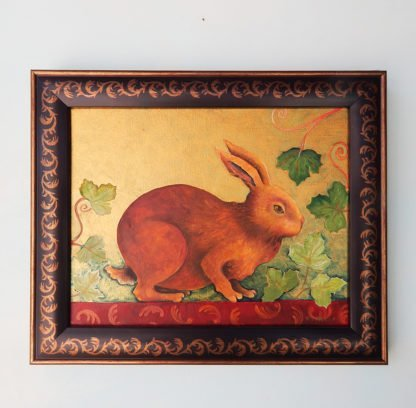 Danasimson.com original Rabbit painting in folk art frame
