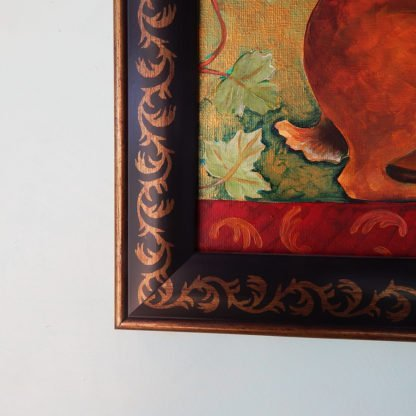 Danasimson.com original Rabbit painting in folk art frame detail