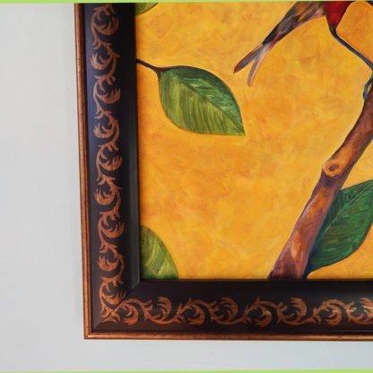 Danasimson.com original Red Bird painting in folk art frame detail