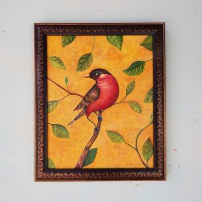 Danasimson.com original Red Bird painting in folk art frame