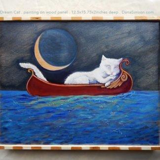 Danasimson.com cat asleep in canoe painting on wood