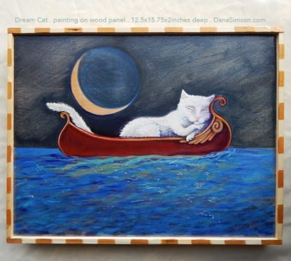 Danasimson.com cat asleep in canoe painting on wood
