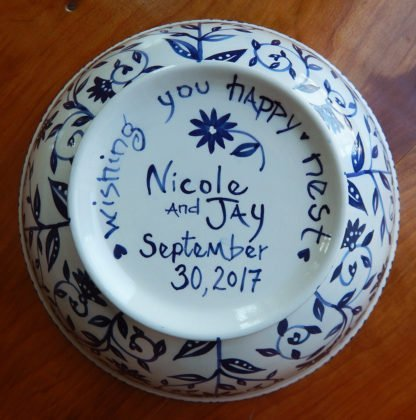 custom message on bottom of happy nest wedding bowl