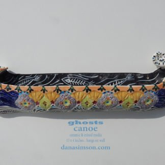 Danasimson.com Ceramic wall sculpture; ghost canoe
