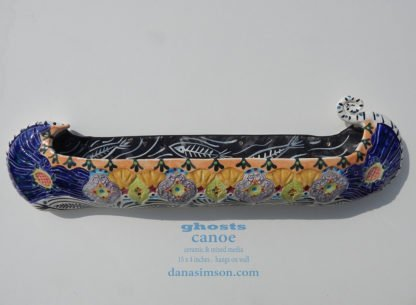 Danasimson.com Ceramic wall sculpture; ghost canoe
