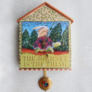 """Danasimson.com Big wooden pendulum wall clock """"Journey's the thing"""" hand printed with applied image"""