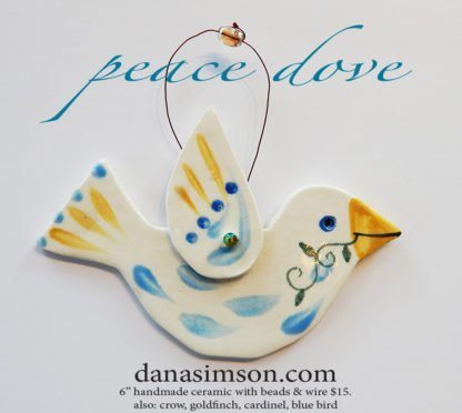 Danasimson.com Ceramic bird ornament peace dove