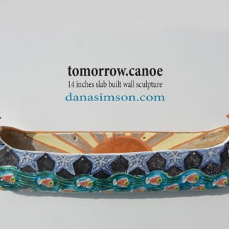 Danasimson.com Ceramic wall sculpture; Tomorrow canoe with sunrise interior