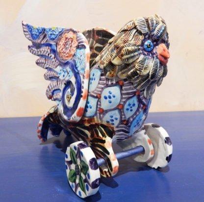 Danasimson.com Owl on wheels sculpture side/front