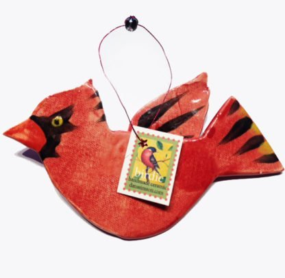 Danasimson.com cardinal with tag ornament