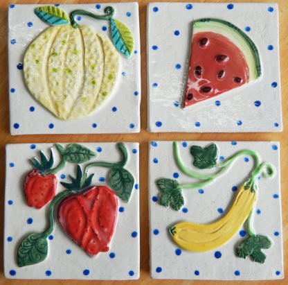 kitchen garden tiles Danasimson.com Custom ceramic tiles for kitchen; strawberry, squash, watermelon and cantaloupe.