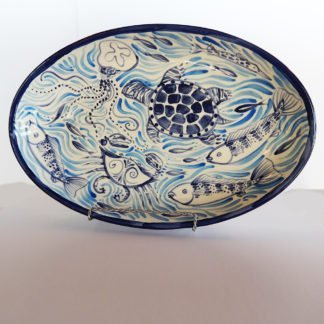 Chesapeake Bay ceramic Danasimson.com oval platter. Customizable