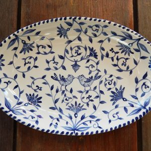 "Delft Blue birds ""Happy.nest"" Platter has hand painted love birds in a garden with acorns signifying long love."