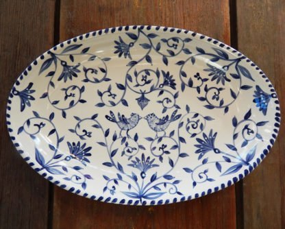 "Danasimson.com Delft Blue birds ""Happy.nest"" Platter has hand painted love birds in a garden with acorns signifying long love."