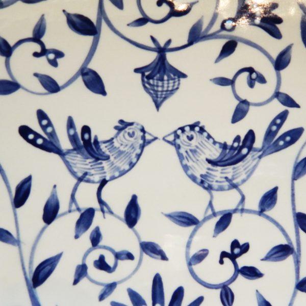 "Delft Blue birds ""Happy.nest"" Platter closeup of two birds brush work."