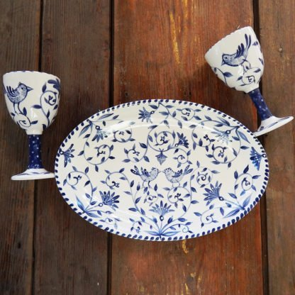 "Danasimson.com Delft Blue birds ""Happy.nest"" Platter with two matching goblets. Customizable."