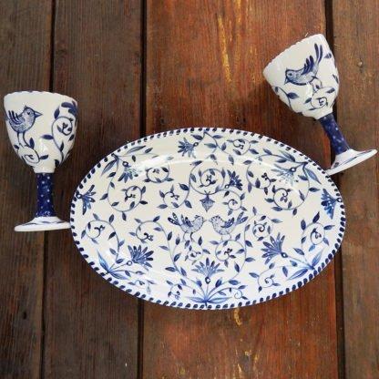 "Danasimson.com Delft Blue birds ""Happy.nest"" Platter with two matching goblets. Customizable."
