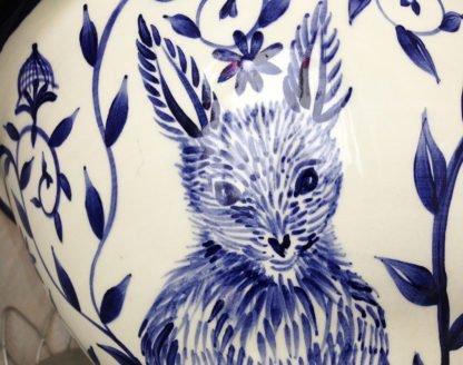 Danasimson.com Custom Wedding bowl; Wishing you happy nest. detail of rabbit. Cobalt blue and white.