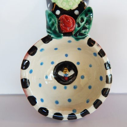 "Danasimson.com Our handmade bee and rose handle Coffee Scoop is about 7 inches by 3,"" in colorful ceramic. Detail of the bowl with little bee."