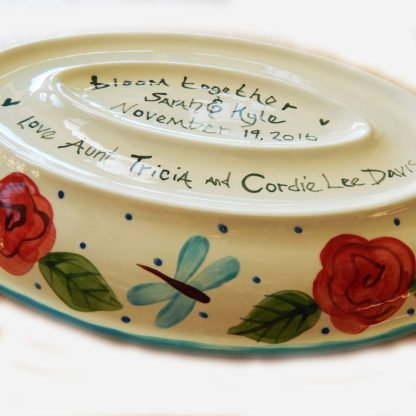 Danasimson.com Custom wedding platter long love bottom showing bride and grooms names and phrase bloom together