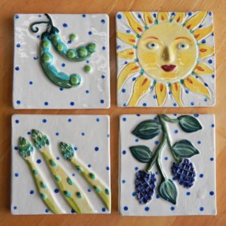 Danasimson.com Custom ceramic tiles for kitchen; asparagus,blackberry. sun and snap peas.