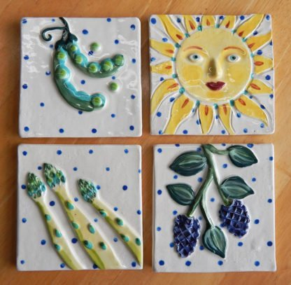 kitchen garden tiles Danasimson.com Custom ceramic tiles for kitchen; asparagus,blackberry. sun and snap peas.