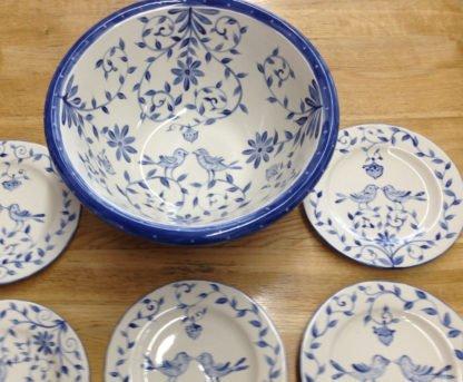 Danasimson.com Custom Wedding bowl; Wishing you happy nest. Bowl interior with matching dessert plates. Cobalt blue and white.