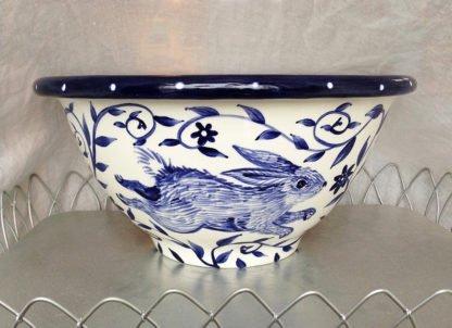 Danasimson.com Custom Wedding bowl; Wishing you happy nest. Side view of rabbits. Cobalt blue and white.