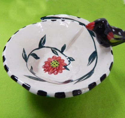 Danasimson.com Little ceramic bowl with a black bird on edge