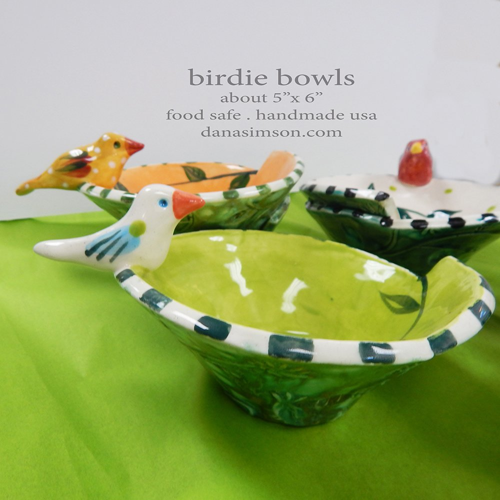 Danasimson.com Handmade ceramic bird bowls in bright jewel tone colors.