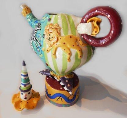 """Danasimson.com Teapot """"My life as a circus"""" with top off."""