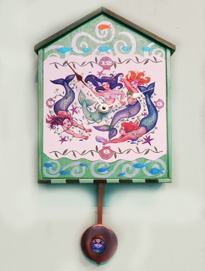 "Mermaids wall clock Danasimson.com Big house-shaped wooden wall clock, ""Mermaid"" image with a crab pendulum. Hand painted detail."