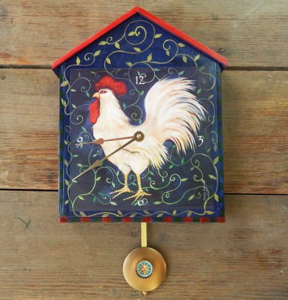 "Danasimson.com Big house-shaped wooden wall clock, ""Rooster"" image with a good morning sun pendulum. Hand painted detail."