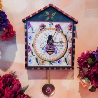 "Danasimson.com Big house-shaped wooden wall clock, ""Just Bee"" image with a Pansy pendulum. Hand painted detail."