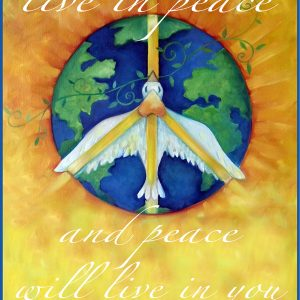 "Live in Peace Art Print shows a peace dove flying over earth. It says ""live in peace & peace will live in you."""