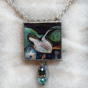 Sea Turtle Necklace two sided pendent-handmade with beveled glass and beads added.