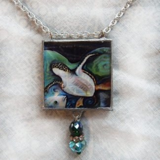 Danasimson.com Sea Turtle Necklace two sided pendent-handmade with beveled glass and beads added.