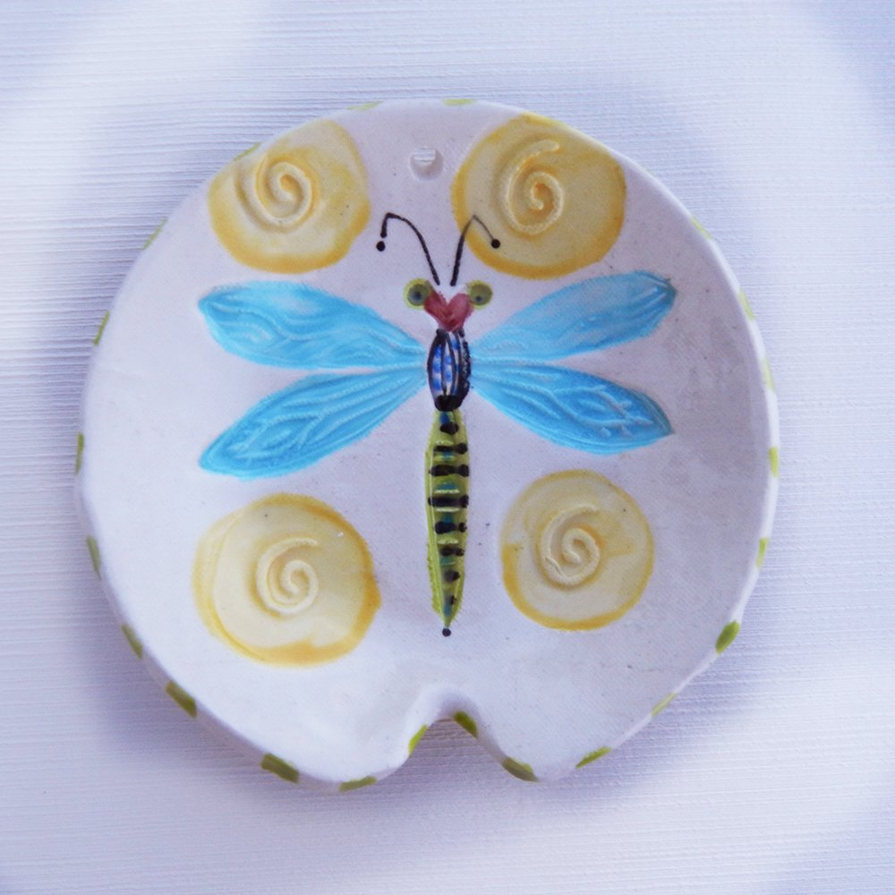 Colorful Dragonfly Spoon Rest Is Useable Art It Is Handmade And Painted In Our Studio On Maryland S Eastern Shore In The Usa The Round Spoon Rest Bowl Shape Has A Notch For