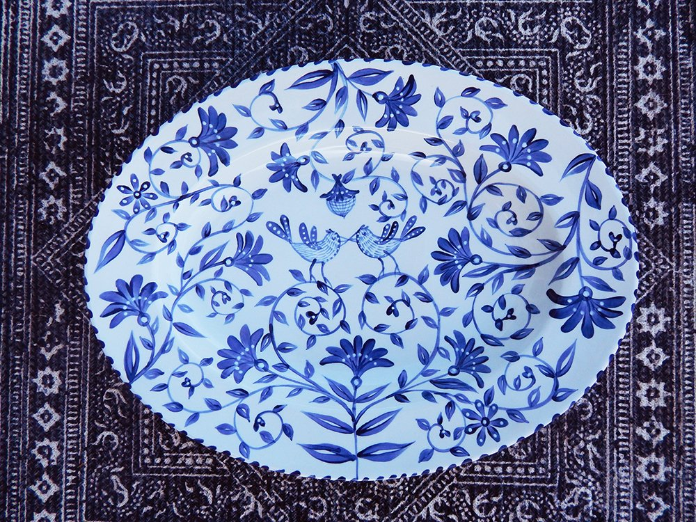 Danasimson.com Hand painted custom wedding large blue and white happy nest platter with birds and floral.