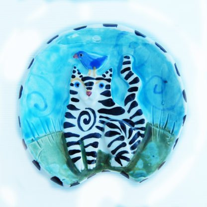 Danasimson.com Striped cat spoon rest handmade raised image ceramic. Food safe.