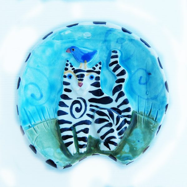 striped cat spoon rest handmade ceramic round shape