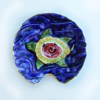 danasimson.com Handmade ceramic Sea turtle spoon rest, food safe.