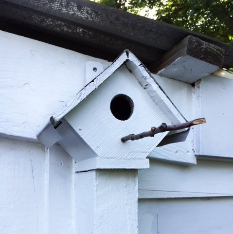 finished fixed birdhouse