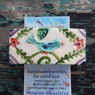 blue bird barrette shown on tag