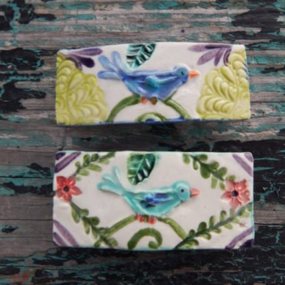 blue bird barrettes aqua & blue