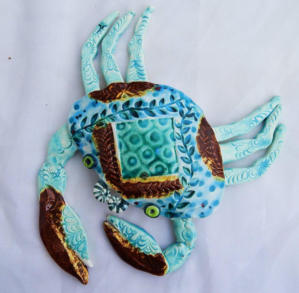 handmade green aqua crab