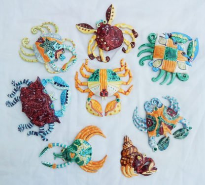 colorful handmade ceramic crabs