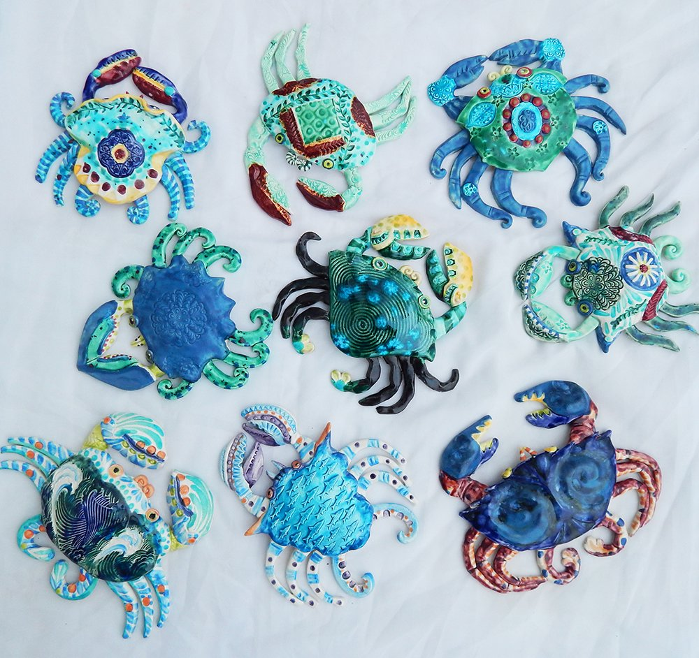 blue and green handmade ceramic crabs