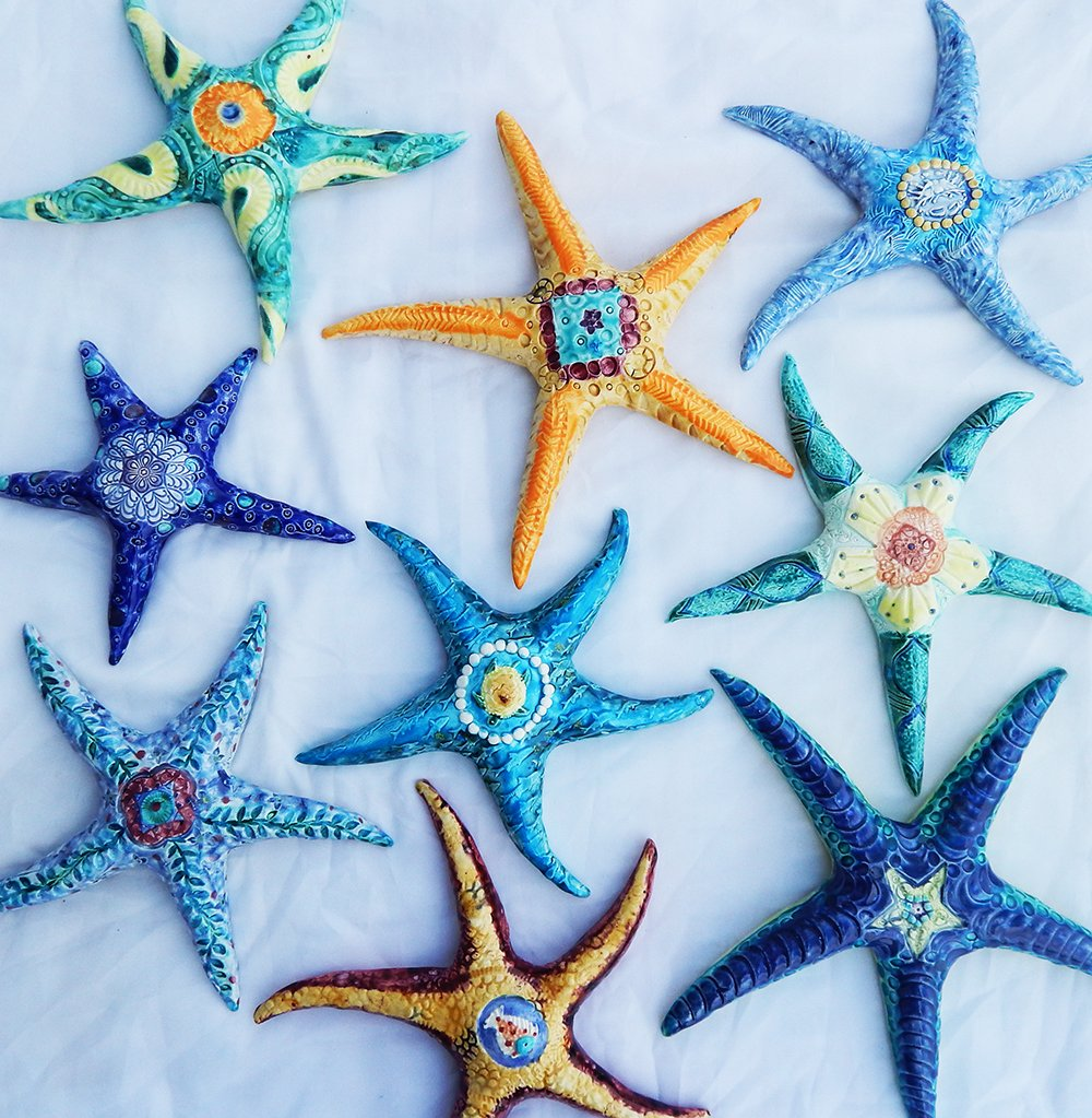 colorful ceramic starfish