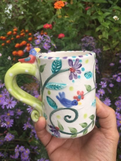 bird and vine mug